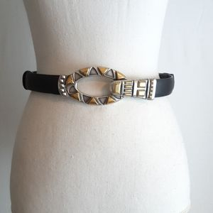 Chico's Womens Fashion Leather Belt Silver Gold ML